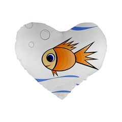 Cute Fish Standard 16  Premium Flano Heart Shape Cushions by Valentinaart