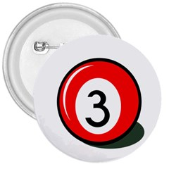 Billiard Ball Number 3 3  Buttons by Valentinaart