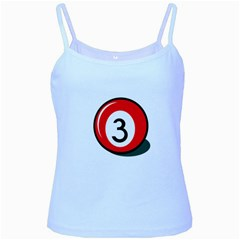 Billiard Ball Number 3 Baby Blue Spaghetti Tank by Valentinaart