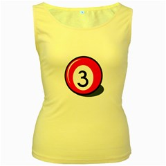 Billiard Ball Number 3 Women s Yellow Tank Top by Valentinaart
