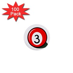 Billiard Ball Number 3 1  Mini Buttons (100 Pack)  by Valentinaart