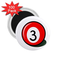 Billiard Ball Number 3 2 25  Magnets (100 Pack)  by Valentinaart