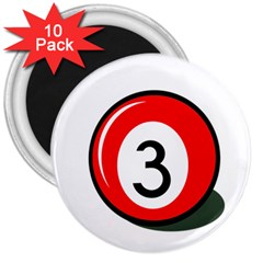 Billiard Ball Number 3 3  Magnets (10 Pack)  by Valentinaart