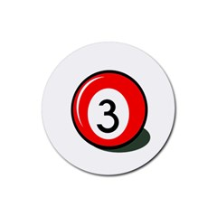 Billiard Ball Number 3 Rubber Coaster (round)  by Valentinaart