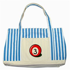 Billiard Ball Number 3 Striped Blue Tote Bag by Valentinaart