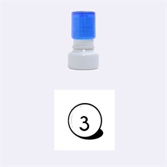 Billiard Ball Number 3 Rubber Round Stamps (small)