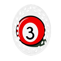 Billiard Ball Number 3 Oval Filigree Ornament (2 Side)  by Valentinaart