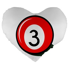 Billiard Ball Number 3 Large 19  Premium Heart Shape Cushions by Valentinaart