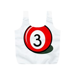 Billiard Ball Number 3 Full Print Recycle Bags (s)  by Valentinaart