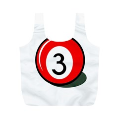 Billiard Ball Number 3 Full Print Recycle Bags (m)  by Valentinaart