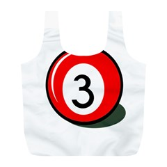Billiard Ball Number 3 Full Print Recycle Bags (l)  by Valentinaart