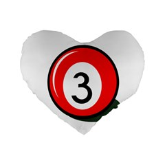 Billiard Ball Number 3 Standard 16  Premium Flano Heart Shape Cushions by Valentinaart