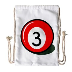 Billiard Ball Number 3 Drawstring Bag (large) by Valentinaart