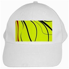 Yellow Decorative Design White Cap by Valentinaart