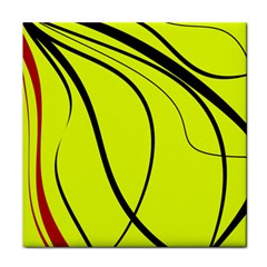 Yellow Decorative Design Tile Coasters by Valentinaart