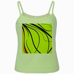 Yellow Decorative Design Green Spaghetti Tank by Valentinaart