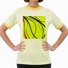 Yellow Decorative Design Women s Fitted Ringer T Shirts by Valentinaart