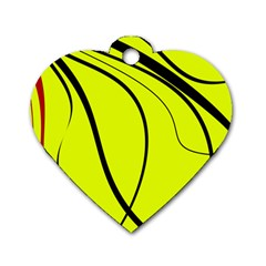 Yellow Decorative Design Dog Tag Heart (one Side) by Valentinaart