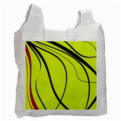 Yellow Decorative Design Recycle Bag (one Side) by Valentinaart
