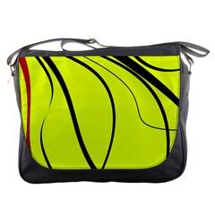 Yellow Decorative Design Messenger Bags by Valentinaart