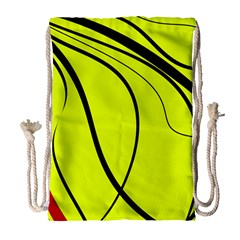 Yellow Decorative Design Drawstring Bag (large) by Valentinaart