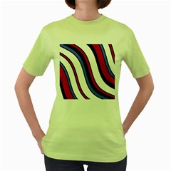 Decorative Lines Women s Green T Shirt by Valentinaart