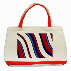 Decorative Lines Classic Tote Bag (red) by Valentinaart