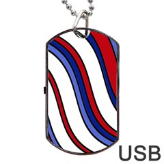 Decorative Lines Dog Tag Usb Flash (two Sides)  by Valentinaart
