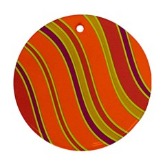 Orange Lines Ornament (round)  by Valentinaart