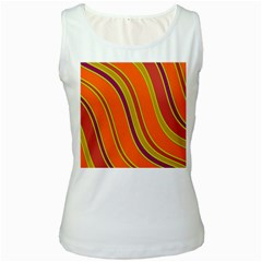 Orange Lines Women s White Tank Top by Valentinaart