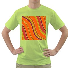 Orange Lines Green T Shirt by Valentinaart
