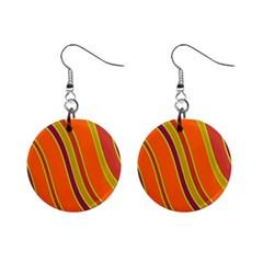 Orange Lines Mini Button Earrings