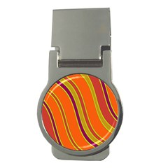 Orange Lines Money Clips (round)  by Valentinaart