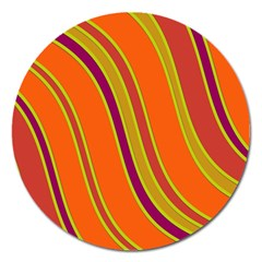 Orange Lines Magnet 5  (round) by Valentinaart