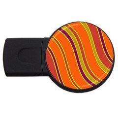 Orange Lines Usb Flash Drive Round (2 Gb)  by Valentinaart