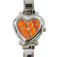 Orange Lines Heart Italian Charm Watch by Valentinaart