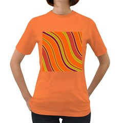 Orange Lines Women s Dark T Shirt by Valentinaart
