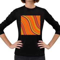 Orange Lines Women s Long Sleeve Dark T Shirts by Valentinaart