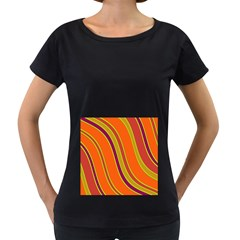 Orange lines Women s Loose-Fit T-Shirt (Black) by Valentinaart