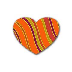 Orange Lines Rubber Coaster (heart)  by Valentinaart