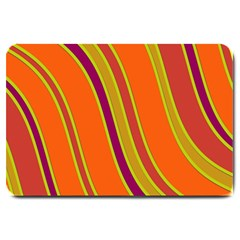 Orange Lines Large Doormat  by Valentinaart
