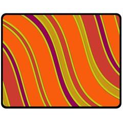 Orange Lines Fleece Blanket (medium)  by Valentinaart
