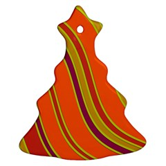 Orange Lines Christmas Tree Ornament (2 Sides) by Valentinaart