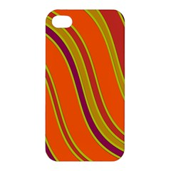 Orange Lines Apple Iphone 4/4s Premium Hardshell Case by Valentinaart