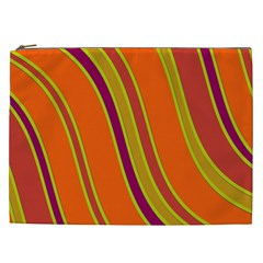 Orange Lines Cosmetic Bag (xxl)  by Valentinaart