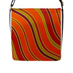 Orange Lines Flap Messenger Bag (l)  by Valentinaart