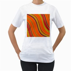 Orange Lines Women s T Shirt (white)