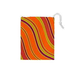 Orange Lines Drawstring Pouches (small)  by Valentinaart