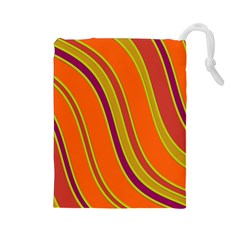 Orange Lines Drawstring Pouches (large)  by Valentinaart