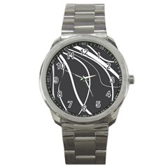 Black And White Elegant Design Sport Metal Watch by Valentinaart